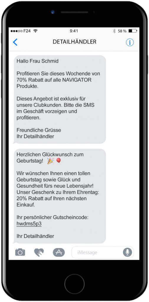 eCall Mockup SMS Dutsch